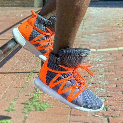 Charcoal/Safety Orange Super Freak 2.0 High Top Sneaker for Cardio and Bodybuilding