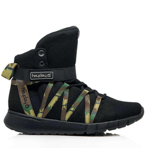 Heyday Footwear Sneakers Men's 5/Women's 6 / Black Black Camo Super Freak 2.0 High Top Sneaker for Cardio and Bodybuilding