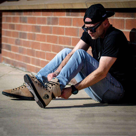 Image of Heyday Footwear Sneakers #MyHeyday Sand/Black Tactical Trainer 2.0 High Top Sneakers for Bodybuilding
