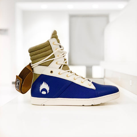 Image of DBZ Vegeta Inspired Navy/Gold Tactical Trainer Hightop Sneaker for Bodybuilding