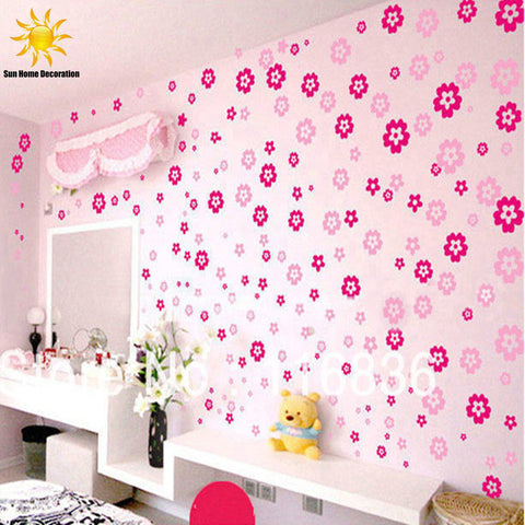 108 Flowers & 6 Butterfly Removable Wall Sticker Decal