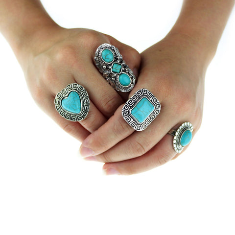 2016 new Gypsy 4pcs/Set Vintage Punk Rings Unique Carved Antique Silver Totem Lucky Rings for Women Boho Beach bohemian Jewelry