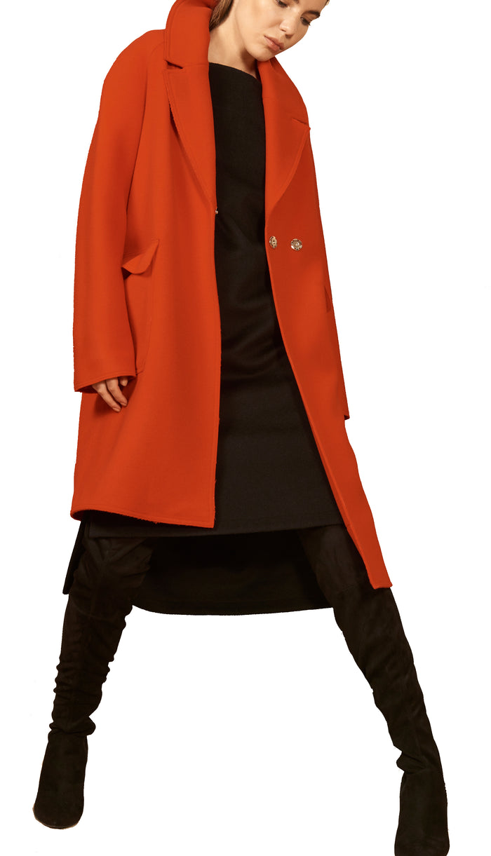 The Asymmetric Coat Extra Small / Bright Red