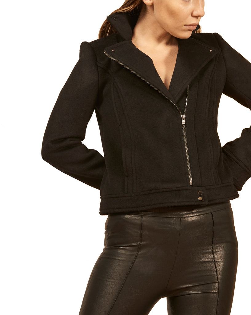 The Cashmere Moto Jacket Extra Small / Pitch Black
