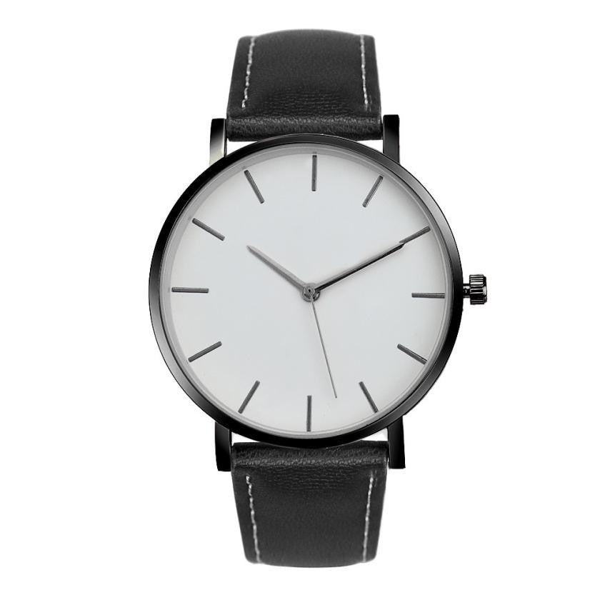 No Logo Leather Band Watch