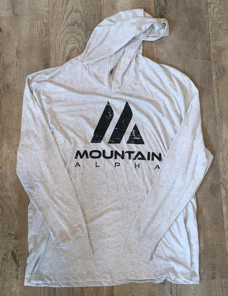"""Uphill Hustle"" Hoodie (Heather White)"