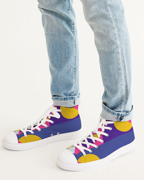 Color Abstract Men's Hightop Canvas Shoe - ComfiArt