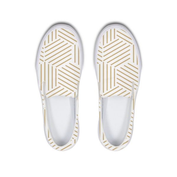 Gold HoneyComb Slip-On Canvas Shoe - ComfiArt
