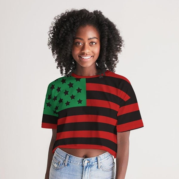 African Pride Women's Lounge Cropped Tee - ComfiArt