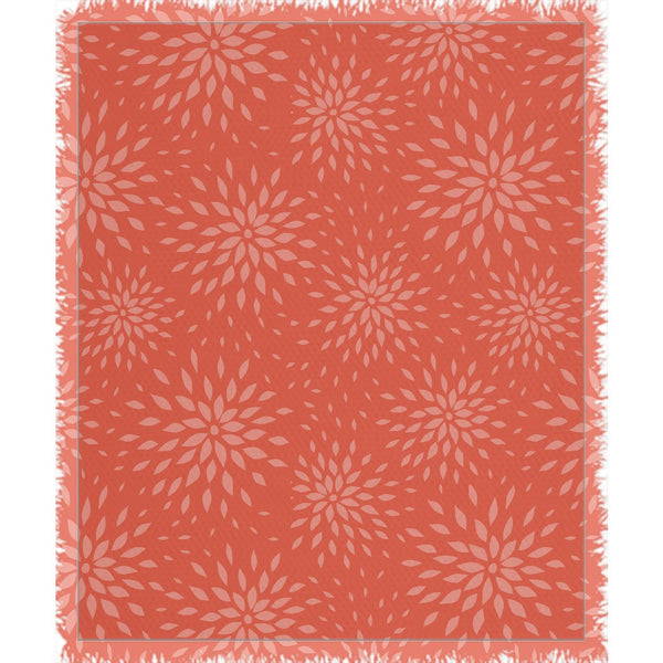 Orange Bloom Woven Blanket - ComfiArt