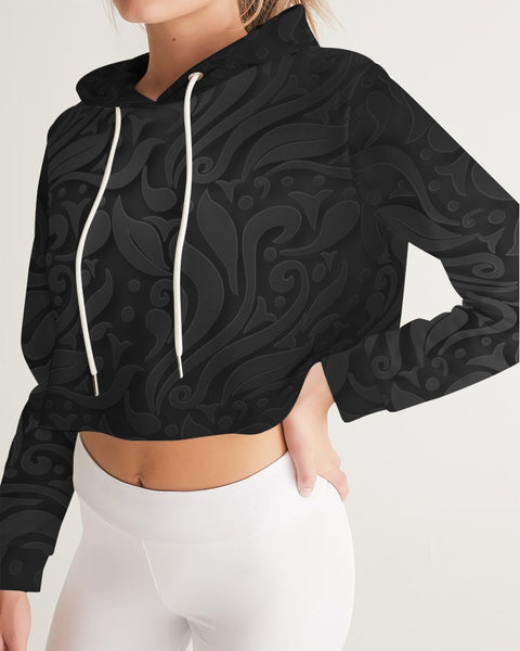 Ornamental Flower Women's Cropped Hoodie - ComfiArt