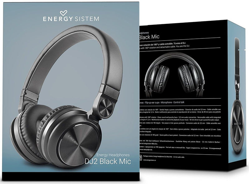 Headphone DJ2 Energy Sistem  Color Negro (Con Microfono)