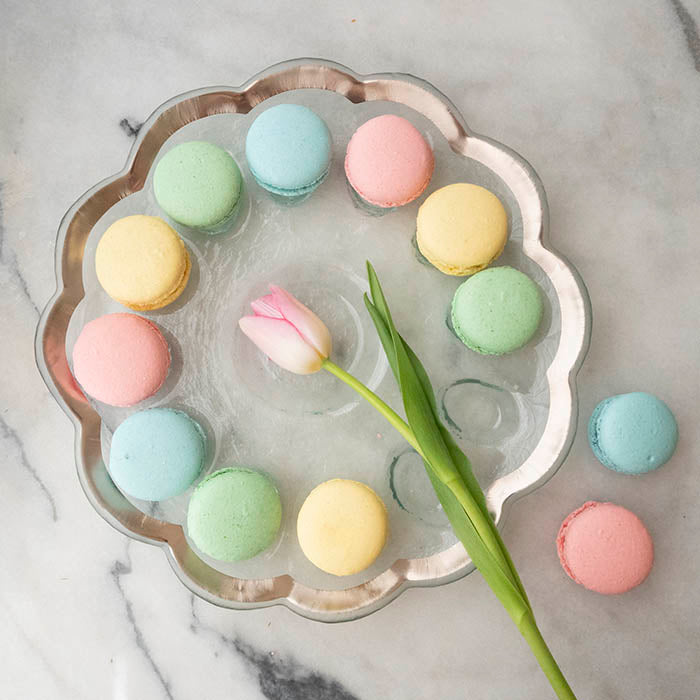Roman Antique plate with Macaroon desserts