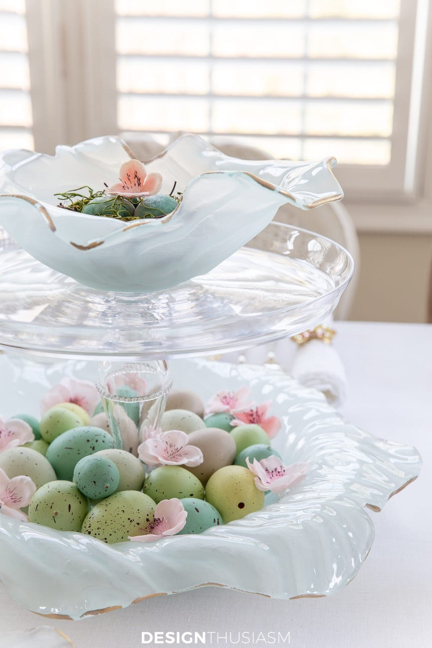 Close-up of Poppy Bowls used as Easter Egg blaskets