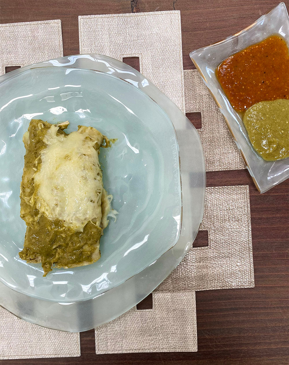 Green Chicken Enchilada on the Annieglass frosted glass dinner plates