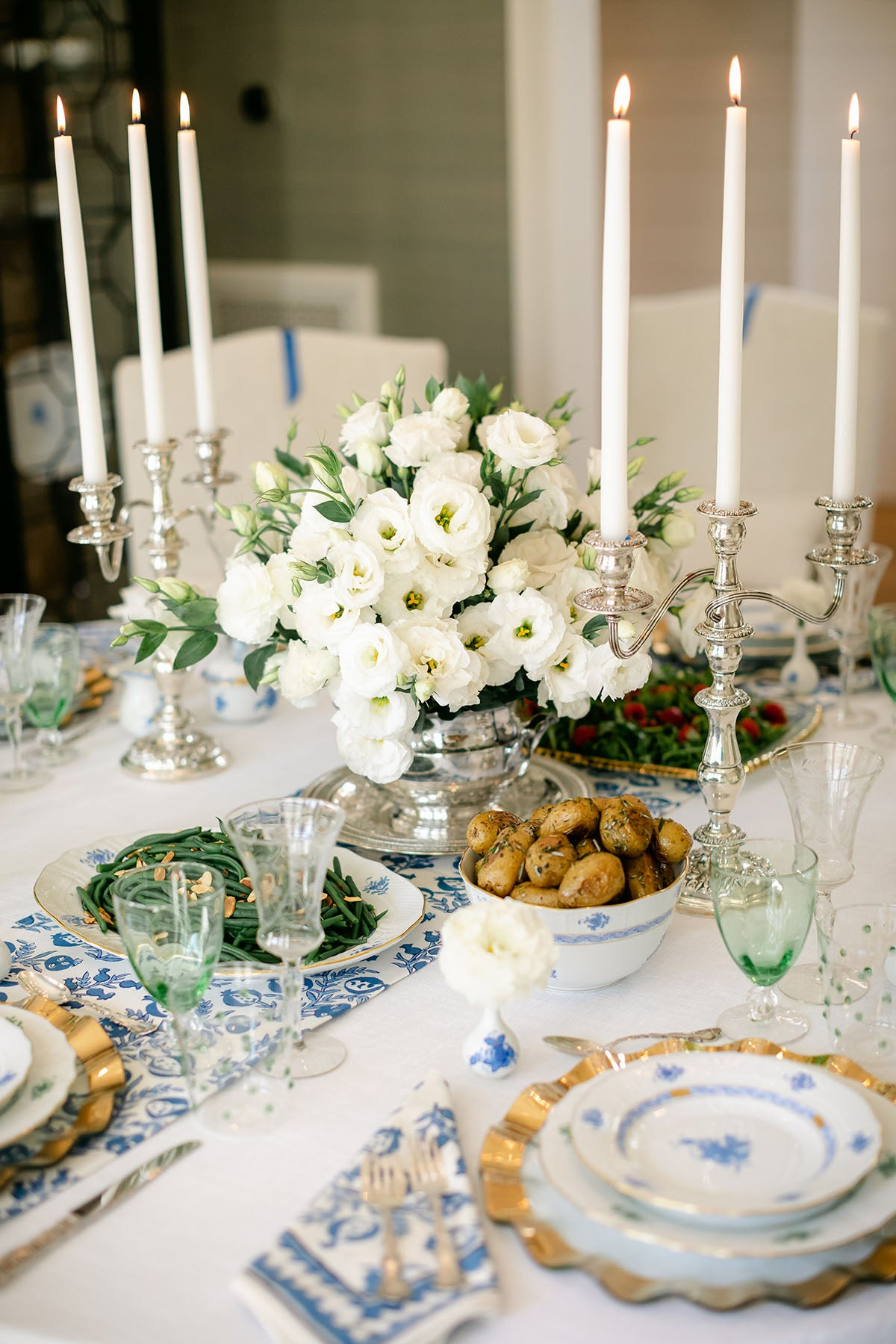 Blue, Green and white, table setting with Annieglass gold buffet plates