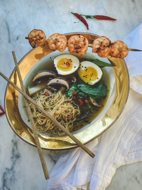 Bowl of Ramen with an Annieglass Bowl with a 24k gold band