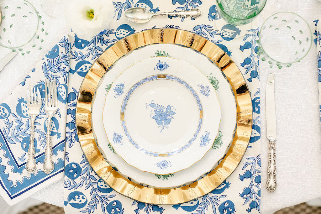 Ruffle Charger, China Plates, Blue tablecloth, gorgeous holiday tablescape