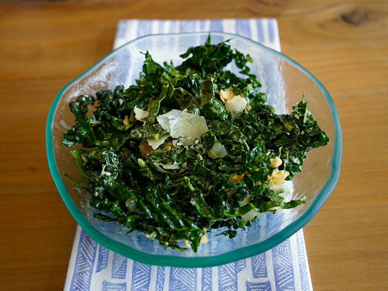 kale salad in small salt bowl
