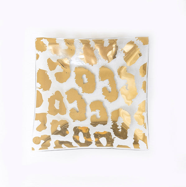 "24k Gold Cheetah Designs on 7"" Square Glass Plate"