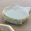 Edgey 24k gold rimmed clear glass plate
