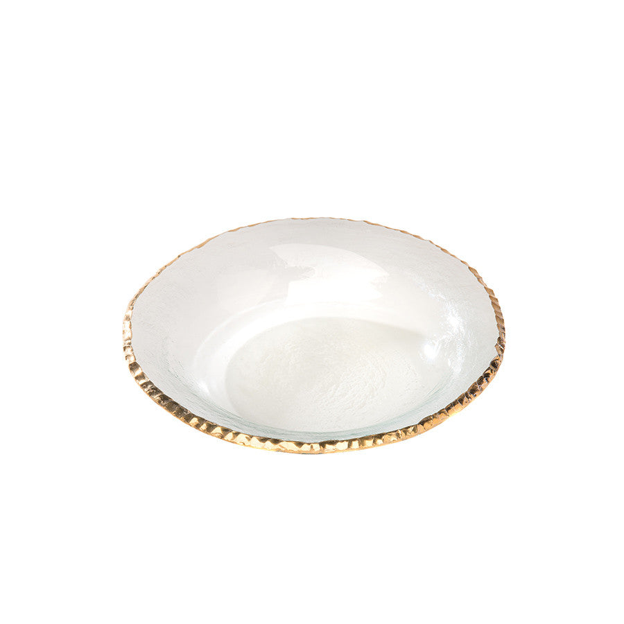 Annieglass Edgey glass soup bowl with 24k gold rim