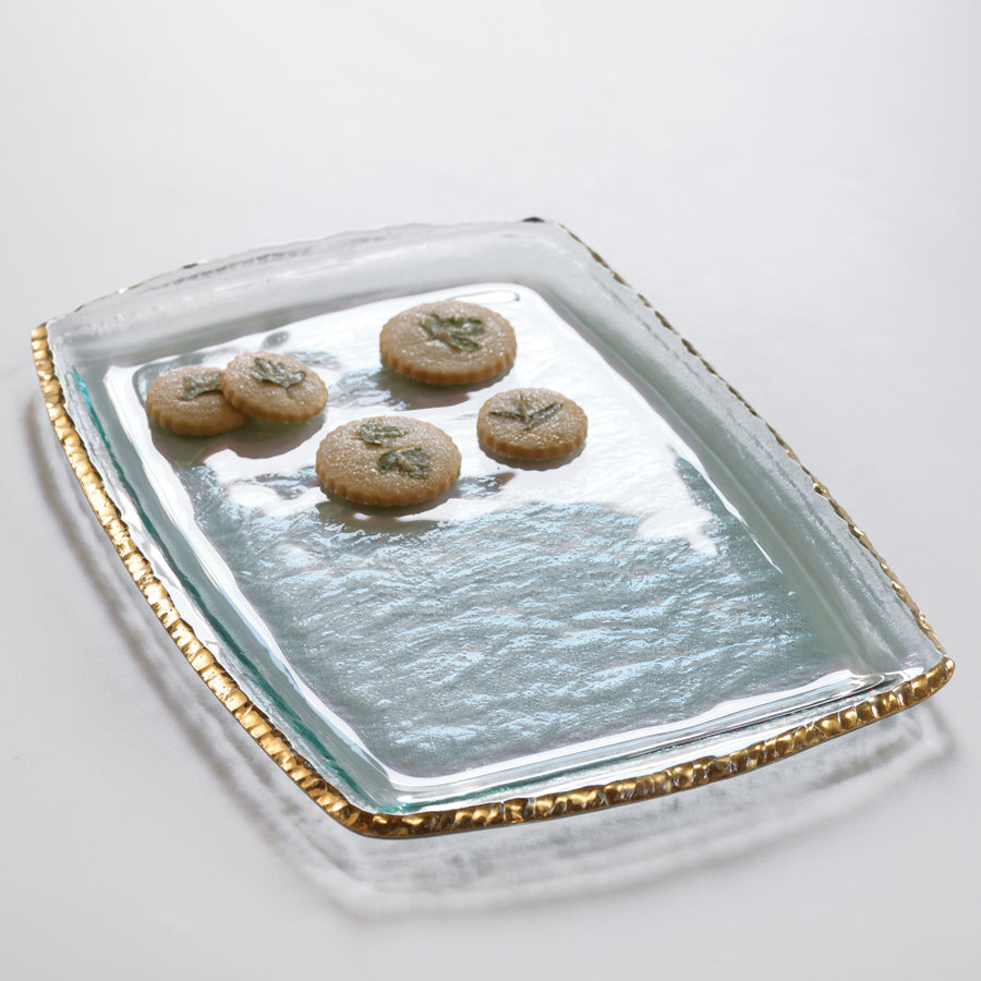 Glass serving tray for parties, with 24k gold edge