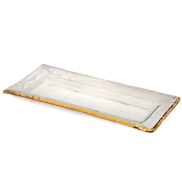 Annieglass glass rectangular tray for serving, 24k gold edge