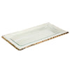 Annieglass glass rectangular tray for serving, platinum edge