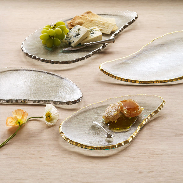 Glass Cheeseboard with 24k gold edges, party platters