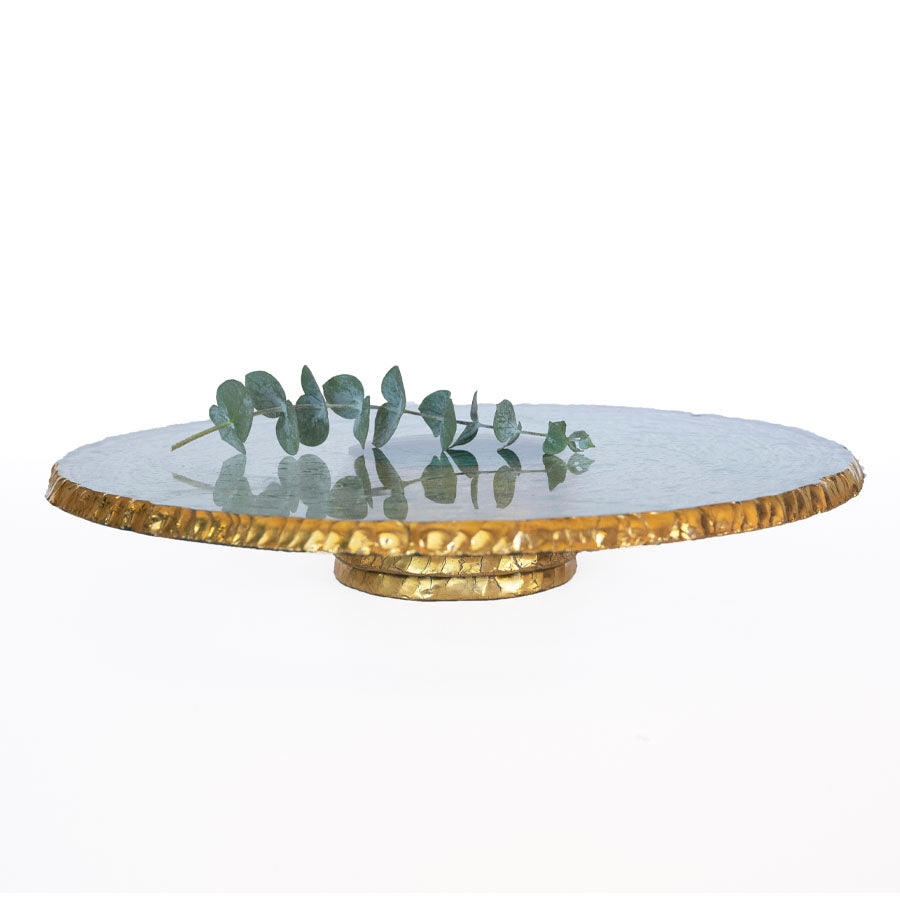 Glass Pedestal Cake Stands, 24kt Gold Rim