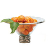 Annieglass Edgey platinum rim serving bowl with glass stand