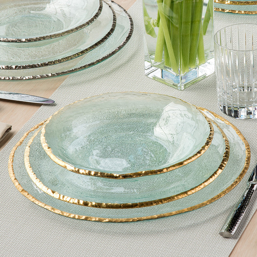 This Placesetting Is To Die Gold Charger Champagne: Contemporary Clear Gold Rim Glass Chargers