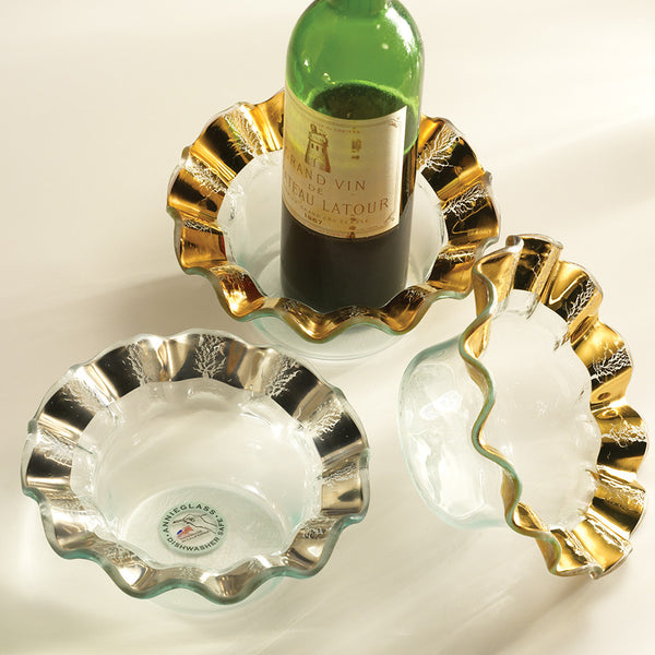 Wine Coasters - Lux Glass with Ruffled Gold Rim
