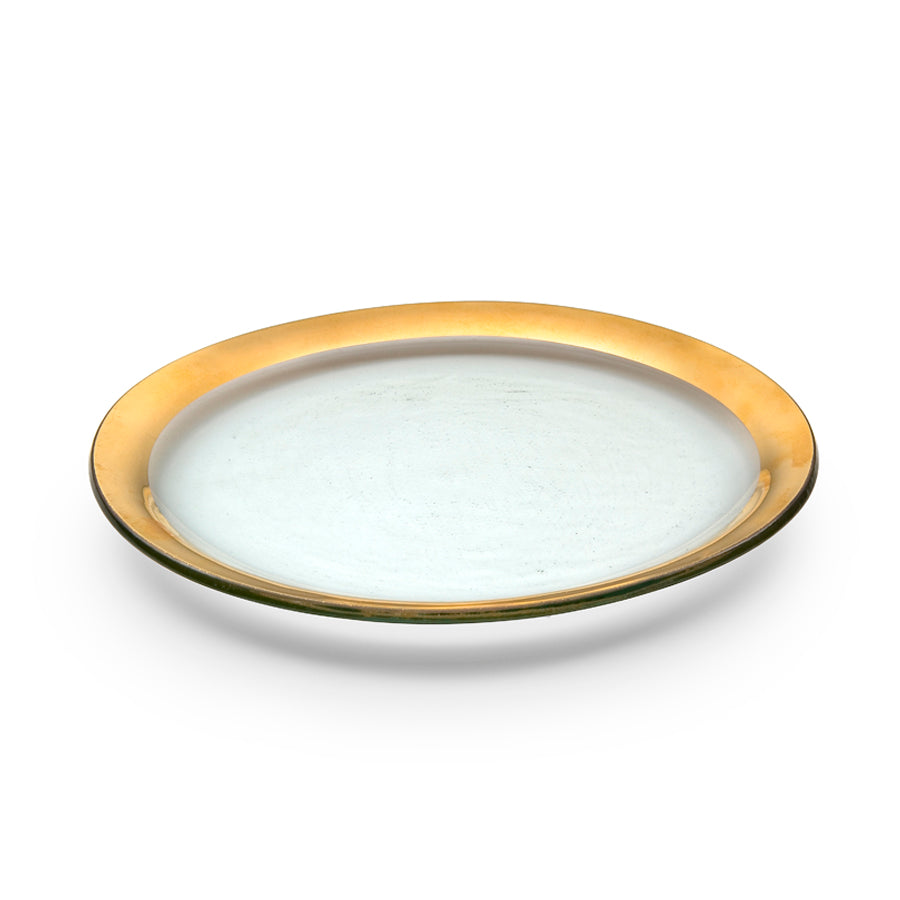Glass Dinner Plates with 24k Gold Band - Roman Antique by Annieglass