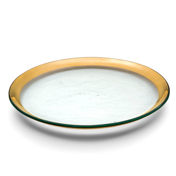 Handmade Glass Buffet Plates, Gold Band - Roman Antique Collection