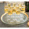 oversized glass serving tray with a 24k gold band
