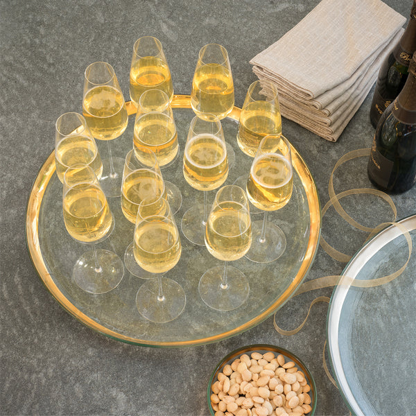 oversized glass tray with a 24k gold band