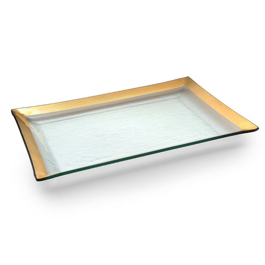 Handmade glass martini trays, handpainted with a thick gold band are a top registry pick and wedding gift.