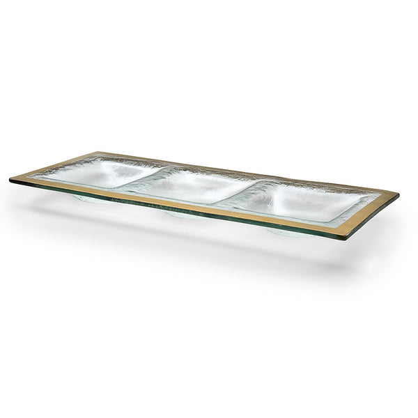handcrafted gold-trimmed sectional glass trays, divided servers are an elegant and versatile wedding gift