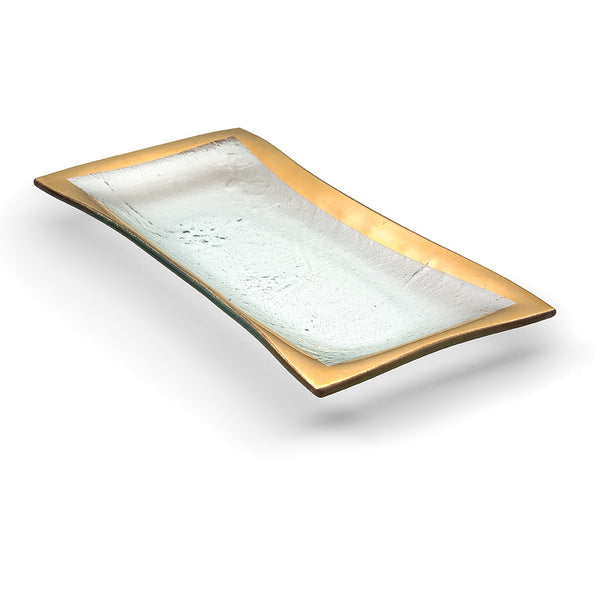 Glass rectangular serving tray used for olives or appetizers
