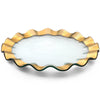 Glass Buffet/Service Plate, Gold Band Ruffle Collection