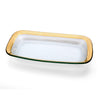 rectangular gold rimmed clear glass tray