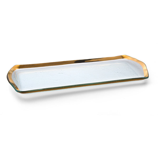 Glass oblong pastry tray with a 24k gold band