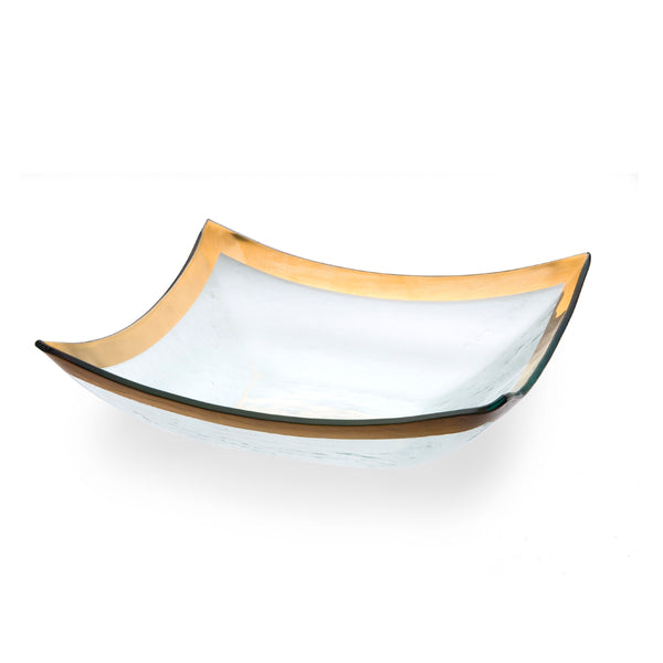 Annieglass Glass Four Point Bowl with 24k gold