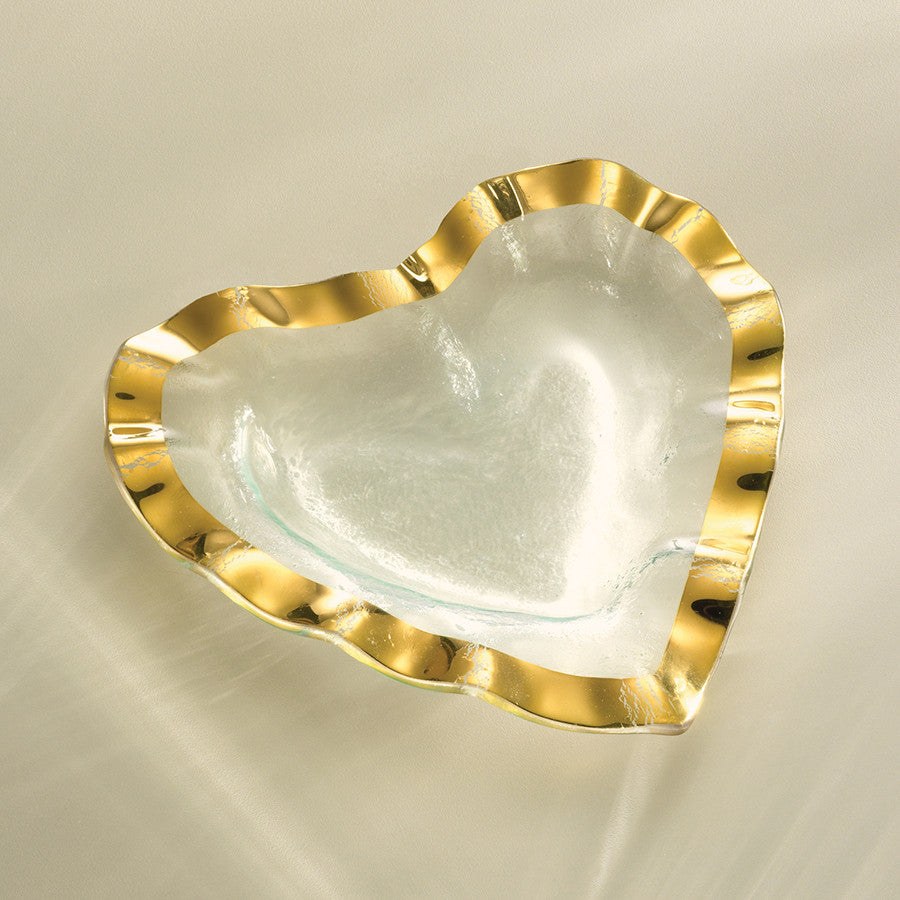 gold glass heart glass gift for a loved one annieglass