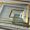 "Gold band, small Square 5"" Glass Trays - Roman Antique"