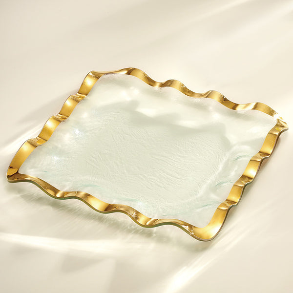 Ruffle Square Tray, gold band, glass serving pieces