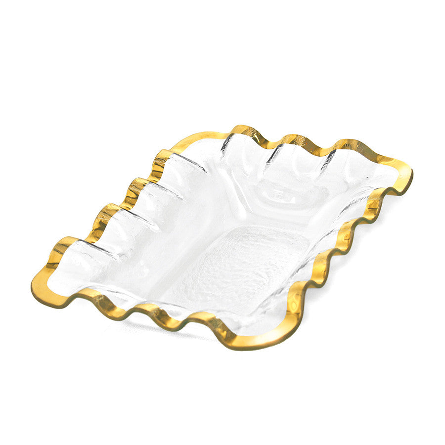 gold rimmed annieglass bread basket, ruffle edges