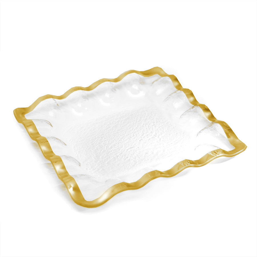 Luxury Square Serving Trays | Ruffled Gold Band